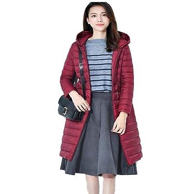 Abrigo largo de la chaqueta de las mujeres, Abrigo de Invierno para Mujer con Capucha Chaqueta Ultra Ligera Abajo Chaqueta Delgada y Larga sólida Abajo Femenina: Hogar