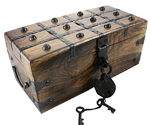 Wooden Pirate Treasure Chest Box 12 x 6 x 5 Includes Iron Lock Trunk Skeleton Keys By Well Pack Box -
