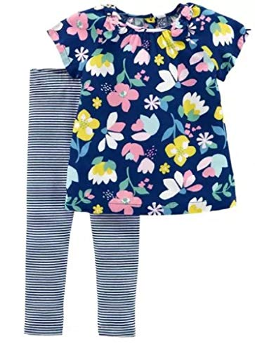 (Carter's Baby Girls' 2-Piece Top and Legging Set (Navy Floral/Stripe, 24 Months))