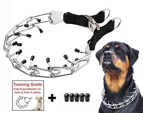 Dog Prong Training Collar, Stainless Steel Choke Pinch Dog Collar with Comfort Tips (Collar)