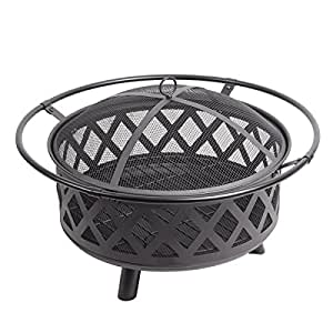 "PHI VILLA Fire Pit 29"" Large Steel Crossweave Portable Patio Fireplace, Poker & Spark Screen Included"