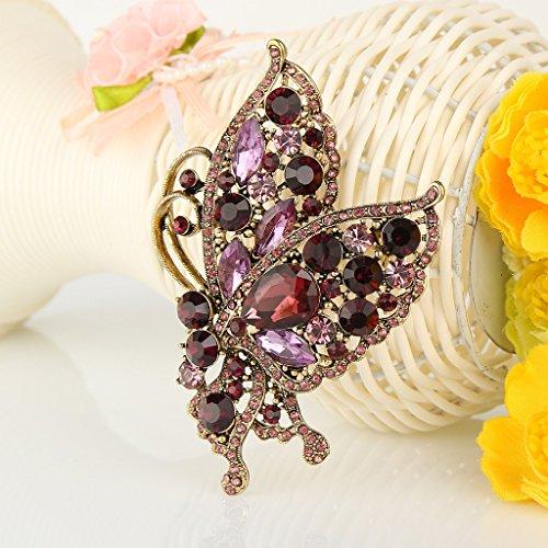 Ever Faith - Broche Autrichien Cristal Vol Papillon Pendant Pourpre Ton-Or A03508-38