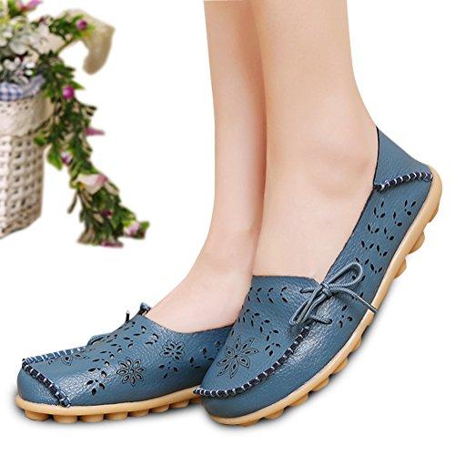 Modemarke beste Show Frauen Leder Loafers Wohnungen Casual Runde Zehe Mokassins Wild Breathable Driving Shoes Hellblau