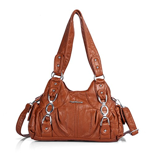 Handbag Hobo Women Bag Roomy Multiple Pockets Street Ladies' Shoulder Bag Fashion PU Tote Satchel Top Handle Bag (AKW22024 11#Brown)