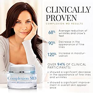Complexion MD ADVANCED Anti Aging, Multi Peptide Formula with Hyaluronic acid | CLINICALLY TESTED | anti wrinkle night cream. Plump, tighten, moisturize. Erase crows feet, forehead creases & fine lines. Hypoallergenic, safe for all skin types (1 oz)