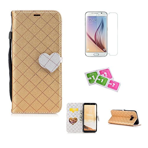 New S7 Cute JGNTJLS Colorful Tempered Galaxy Fashionable Design Protector Contrast with Wrinkle Glass Case Cross LOVE Samsung Original Screen Gold Free Embossing Stylish Style Fax Leather Surface Shell 6wqEqI