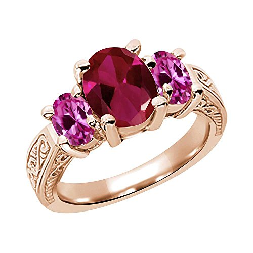 Gem Stone King 3.59 Ct Red Created Ruby Pink Created Sapphire RG Plated Silver Ring (Size 7)
