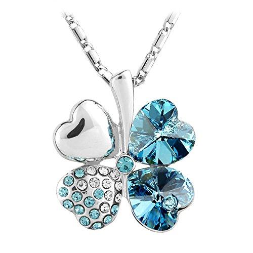 Le Premium Four Leaf Clover Pendant Necklace Heart Shaped SWAROVSKI Aquamarine Blue Crystals (Swarovski Leaf Pendant)