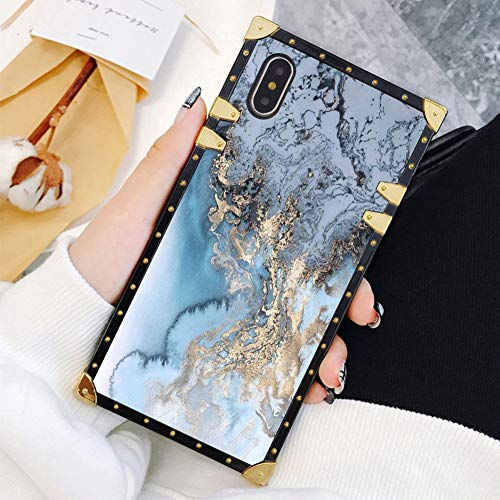 Square Case Compatible iPhone Xs Max Gold Blue Marble Luxury Elegant Soft TPU Full Body Shockproof Protective Case Metal Decoration Corner Back Cover iPhone Xs Max Case 6.5 ()