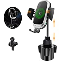 [Upgraded] Cup Holder Phone Mount Wireless Car Charger, NeotrixQI Auto Clamping Qi Fast Charging Adjustable Phone Mount…