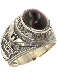 Solid 925 Sterling Silver Cabochon Garnet Mens Mans Signet USA American Airforce Ring - Sizes 7 to 15