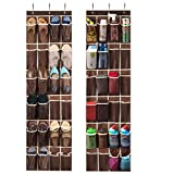 ZOBER Over The Door Shoe Organizer - 24 Breathable Pockets, Hanging Shoe Holder for Maximizing Shoe Storage, Accessories, Toiletries, Laundry Items. 64in x 18in (2 Pack, Java Brown)