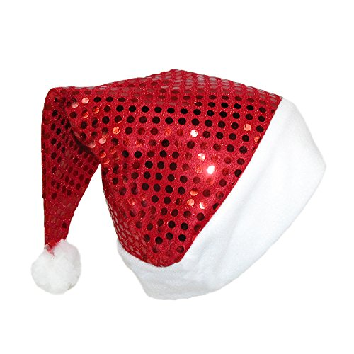 Jacobson Hat Company Women's Red Sequin Santa Hat, Red/White, One (Red Sequin Santa Hat)