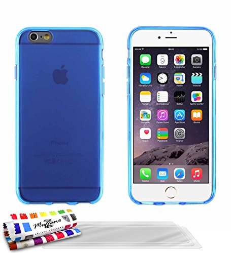 Ultraflache weiche Schutzhülle APPLE IPHONE 6S [Le Glossy Hybrid] [Blau] von MUZZANO + 3 Display-Schutzfolien UltraClear + STIFT und MICROFASERTUCH MUZZANO® GRATIS - Das ULTIMATIVE, ELEGANTE UND LANGL