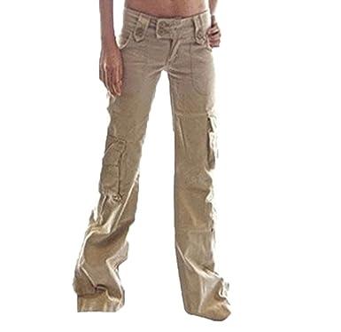 c5b3270159d4 Hellomiko Pantalon Cargo pour Femmes - Multifonctions Combat Cargo Pantalon  Pantalon évasé Confortable Outdoor Trekking Pantalon Camping Mountaineering  ...
