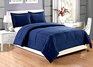 3 piece Luxury NAVY BLUE Dobby Stripe Reversible Goose Down Alternative Comforter set KING size with Corner Tab Duvet Insert, Hypoallergenic, Plush Siliconized Fiberfill, Box Stitched
