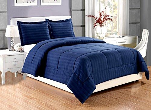 2 piece Luxury NAVY BLUE Dobby Stripe Reversible Goose Down Alternative Comforter set, TWIN / TWIN XL with Corner Tab Duvet Insert, Hypoallergenic, Plush Siliconized Fiberfill, Box (Inexpensive Twin Comforter Sets)