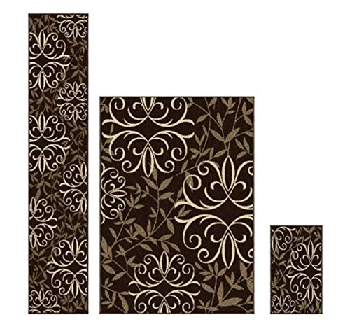Better Homes and Gardens Iron Fleur 3-Piece Area Rug Set, Choco Cream from Better Homes & Gardens