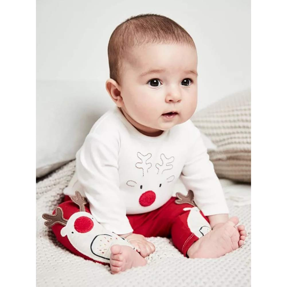 EFINNY Children Clothing Christmas Deer Pattern Suit Printing Stripes Print Cotton Soft Two-Piece Set