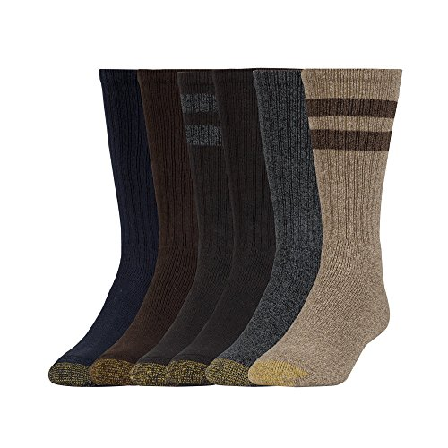 (Gold Toe Men's Harrington Crew Socks, 6 Pairs, brown/grey/blue/black Shoe Size: 6-12.5)
