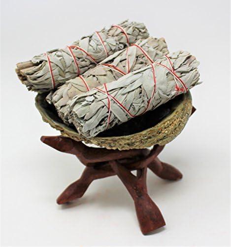 کیت Smudge: پوسته بزرگ Abalone ، پایه چوبی و (3) سه چوب سفیک مریم گلی سفید: برند رنگین کمان