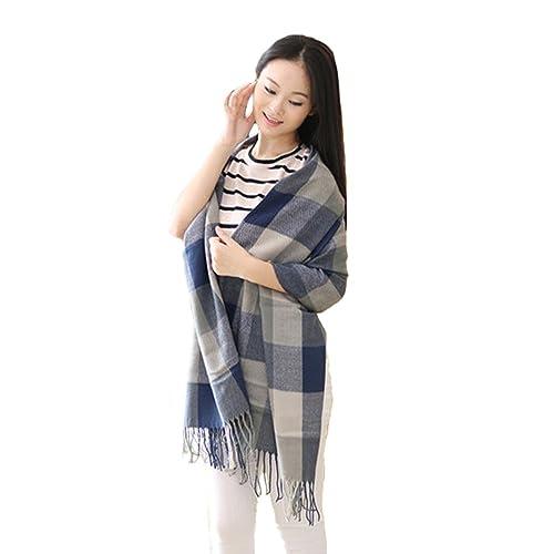 Donne Signore Moda Reticolo Fiocco Scialle Inverno Caldo Sciarpa Lunga Blu + Grigio