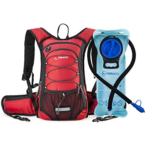 (MIRACOL Hydration Backpack with 2L Water Bladder, Thermal Insulation Pack Keeps Liquid Cool up to 4 Hours, Perfect Outdoor Gear for Skiing, Running, Hiking, Cycling (Red))