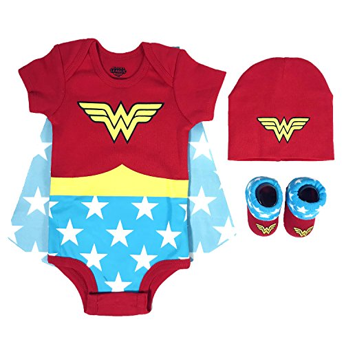 DC Comics Baby Girls Superman, Wonder Woman, Flash, Batman 3-pc Set in Gift Box, red, 0-6 -