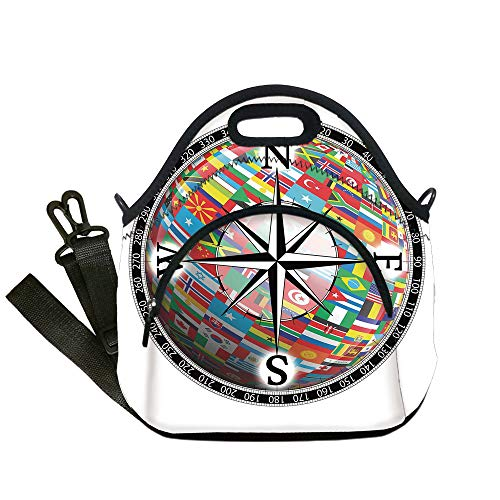Insulated Lunch Bag,Neoprene Lunch Tote Bags,Compass,Flags of the Globe inside a Compass and Windrose Various Nations Unity Image,Black Multicolor,for Adults and children ()
