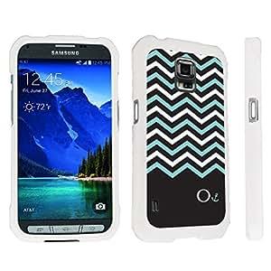 DuroCase ? Samsung Galaxy S5 Active SM-G870A Stylish Hard Case White - (Black Mint White Chevron O)