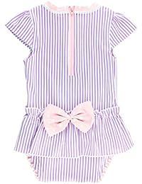 RuffleButts Little Girls Peplum Skirt One Piece Rash Guard Swimsuit - Lilac Seersucker - 2T