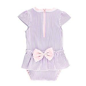 RuffleButts Infant/Toddler Girls Peplum Short Sleeve One Piece Swimsuit UPF 50+ Sun Protection