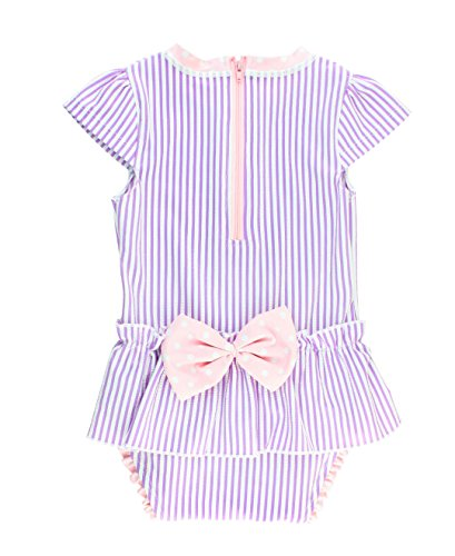 (RuffleButts Little Girls Peplum Skirt One Piece Rash Guard Swimsuit - Lilac Seersucker - 2T)