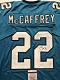 Autographed/Signed Christian McCaffrey Carolina Panthers Blue Football Jersey JSA COA