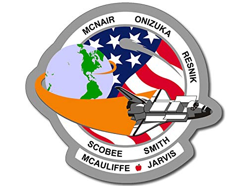 American Vinyl Round Space Shuttle Mission STS 51L Sticker (Challenger NASA Logo Insignia Patch Design)