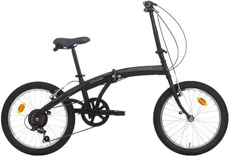 Cinzia - Bicicleta plegable con ruedas de 24 pulgadas, 6 V, color negro y gris: Amazon.es: Deportes y aire libre