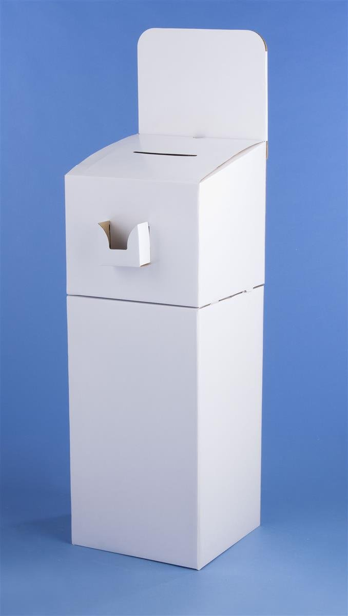 Set of 2 - Floor Standing Cardboard Ballot Box with Header and Brochure Pocket, Detachable Design Also Allows for Countertop Use of Suggestion Box - White by Displays2go