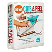 Crib-A-Peel Disposable Fitted Mattress, Soft, Comfortable, Waterproof Mattress Protector - 5 Disposable Sheet As Seen on Shark Tank- White (Baby/Toddler)