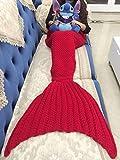 LAGHCAT Mermaid Tail Blanket Crochet Mermaid Blanket Kids, Soft All Seasons Sleeping Blankets, Whale Tail Pattern (56 x 28 Inch, Red)