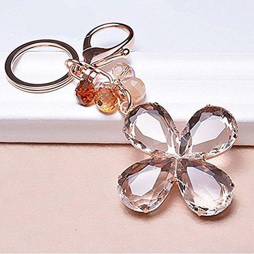 - Crystal Lucky Four Leaf Clover Shape Crystal Diamond Car Keyrings Keychain Bag Charms