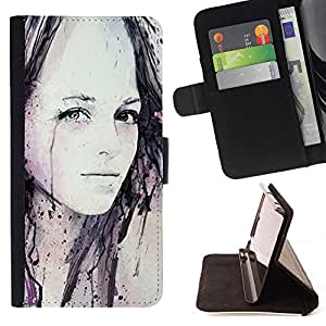 Momo Phone Case / Flip Funda de Cuero Case Cover - Chica Acuarela Pintura Arte Negro - HTC Desire 820