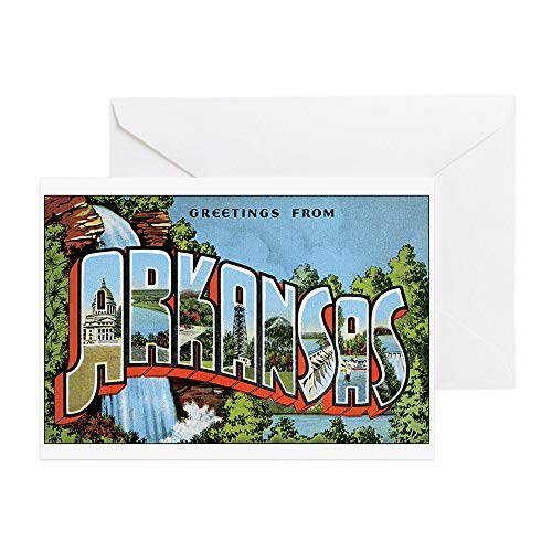 CafePress Arkansas Greetings Greeting Card (10-pack), Note Card with Blank Inside, Birthday Card Glossy