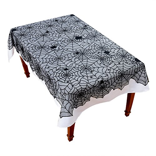 Halloween Tablecloth 54×72'' Spiderweb Gothic Punk Black Lace Table Cover Excellent for Halloween Party Kitchen Home Decoration Reusable -
