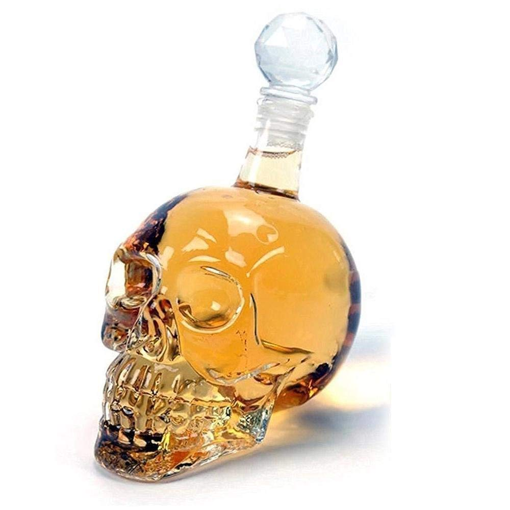 Skull Head Vodka Shot Whiskey Wine Drinking Glass Bottle Decanter Skull Shaped Wine Bottle 550 ml