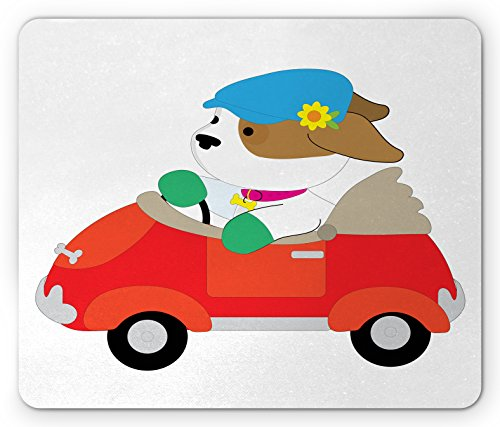 Dog Driver Mouse Pad by Ambesonne, Stylish Canine with Scarf Sunglasses Fashion Model Riding Scooter Funny Animal, Standard Size Rectangle Non-Slip Rubber Mousepad, - Sunglasses Canine