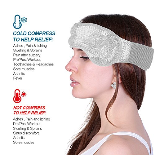 Migraine Pain Relief Adjustable Hot Cold Gel Ice Head Wrap with Soft Fabric Backing for Headache, Toothache, Jaw Ache, Fever, Swelling (Standard Size (Headache Wrap)