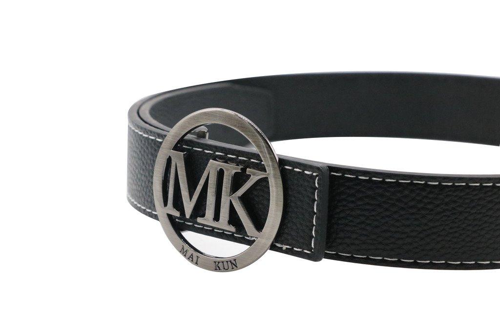 Maikun 38 MK Carta Plato MK Redondo (hebilla (hebilla mujer cinturón Unisex  38 mm ajustable de piel para hombre Black leather black buckle 351f641 d41f121a099d