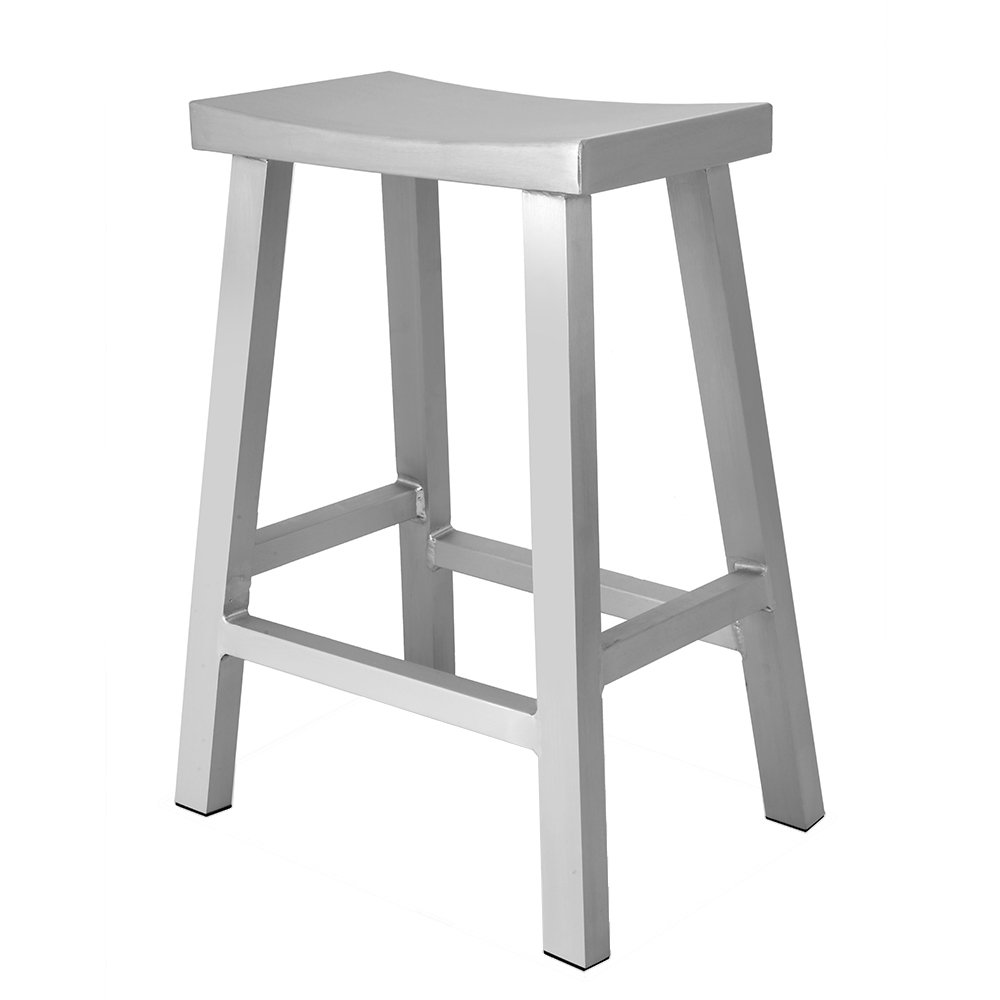 Renovoo Aluminum Saddle Seat Counter Stool, Commercial Quality, Brushed Aluminum Finish, 24 inches Seat Height, Indoor Outdoor Use, 1 Pack by Renovoo