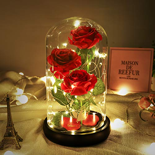 Beauty and The Beast Rose, Beautiful Decoration Consisting of Red Silk Roses & LED Lights and Glass Covers, is a Romantic Surprise Gift for Christmas, Valentine's Day, Anniversary (Three Flowers) (Gifts And Christmas Flowers)