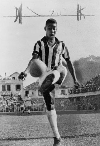Pelé, kicking soccer ball in the air photo Vintage Black & White Photograph b2 by Historic Photos